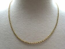 """OR 14k Yellow Gold Chain Necklace 6.7g Rope Twist 18"""" Solid 2mm Safety Lever VTG"""