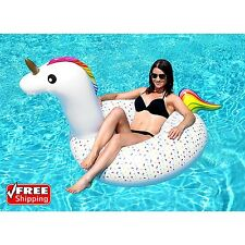 Giant 6Ft Inflatable Rainbow Unicorn Pool Ring Float Swim Tube Fun Party Toy Kid