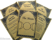 The Moon BOOK OF SHADOWS 6 PAGE SET lunar wicca print parchment spell ritual BOS