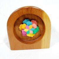 Unique Color Time Wood Clock w 3 Moving Flower Petal Hands Desk Shelf