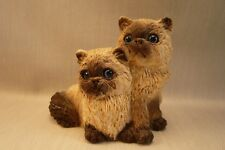 VTG '87 SIGNED STONE CRITTERS-2 HIMALAYAN KITTENS-Glass Eyes-Great Detail-2.5x3""