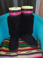 NWOB~$149~Black Angora Fur Neon Trim Crystals Studs Hippie Boots~10~Gypsy Soule