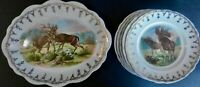 6 Pc. Set Warner Keffer Game Animal Wildlife Plates & Platter with Gold Trim