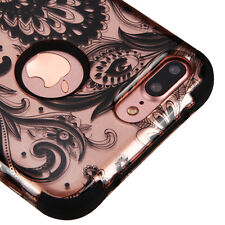 "APPLE IPHONE 7 PLUS 5.5"" ROSE GOLD LACE PAISLEY 3PCS SHOCK CASE TUFF RUGGED COVE"