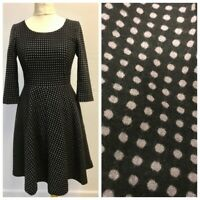 Boden Ladies Wool Blend Black Grey Spotted Fit & Flare Vintage Style Dress 10R