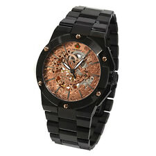 LOUIS RICHARD MENS AUTOMATIC MONFORT WATCH SKELETON BLACK STAINLESS STEEL
