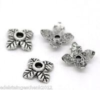 350 älter Silber 4 Blatt Perlen Beads Ende Kappen 6*6mm