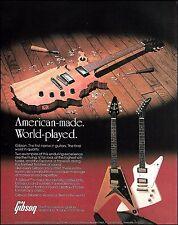 The 1984 Gibson Flying V & Explorer Guitar ad 8 x 11 advertisement print