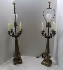 Vintage Pair of Table Lamps 3 Way Bulb & 4 Candles Heavy Bronze Finial  (r23-16)