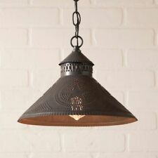 Stockbridge Shade Light with punched STAR in Kettle Black Tin