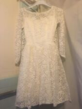 vintage Sylvia Ann 60's white lace mini wedding dress attached train EUC