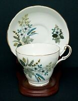 Regency English Bone China Tea Cup and Saucer Set White Flowers & Leaves England