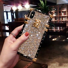 For Samsung Galaxy S21 S20 S8 Note20 10 9 Luxury Bling Glitter Square Case Cover