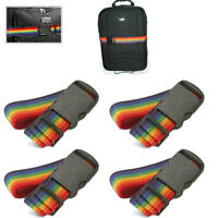 2/4 Pack Travel Luggage Suitcase Strap Rainbow Color Belt Baggage Backpack Bag
