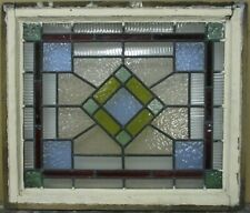 """VICTORIAN ENGLISH LEADED STAINED GLASS WINDOW Stunning Geometric 23.5"""" x 20"""""""
