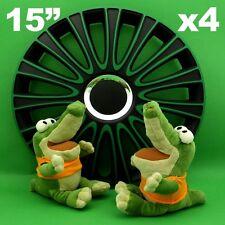 "Hubcaps 15"" LEMANS Wheel Trim Cover BLACK+GREEN for SKODA Fabia Octavia Rapid"
