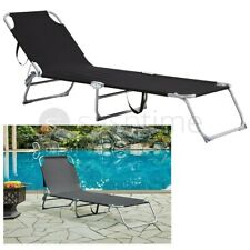 More details for sun lounger folding recliner chair portable reclining garden outdoor seat bed