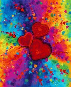 "CLEARANCE! Digitally Printed Chong-a Hwang All Over Full Heart 35"" Panel Bright"