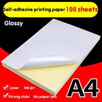 100 Sheets A4 Laser Inkjet Printer Craft Paper White Self Adhesive Sticker Labjb