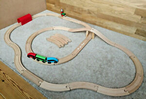 Wooden Train Track Bundle BRIO Unbranded IKEA - Bell Signal Train Tunnel Bridge