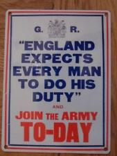 VINTAGE RETRO GOOD QUALITY METAL SIGN ENGLAND - DO YOUR DUTY JOIN THE ARMY TODAY