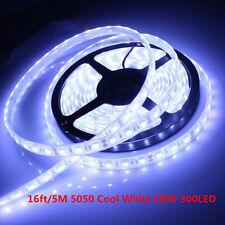 16ft/5M 5050 Cool White SMD 300LED Flexible Light Strip Lamp 12V Waterproof IP65