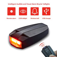 Bike Cycling MTB Tail Lights Smart Anti-Theft Alarm LED Wireless Remote Lamp USB