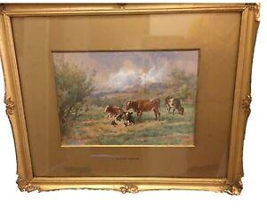Antique Gilt Framed Claude Cardon Watercolour A Summers Day - Rural Cows c 1900