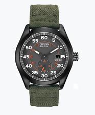 CITIZEN Eco Drive Black Dial Green Nylon Strap Men's Watch MILITARY BV1085-22H
