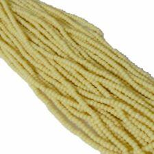 Cream Semi-Matte Opaque Czech 6/0 Seed Bead on Loose Strung 6 String Hank