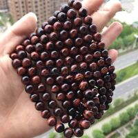 8MM Genuine Natural Red Tiger's Eye Gemstone DIY Round Loose Beads 15'' AAA+