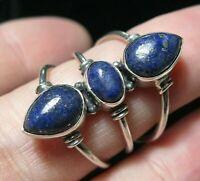 Beautiful STERLING SILVER Lapis Lazuli Gem Stone Big RING Size Q 1/2 8.25