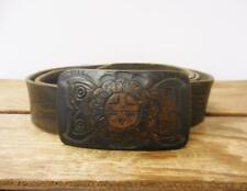 VINTAGE Hopi Sun Butterfly Flower Tooled Buckle Brown Leather Waist Belt Size 38