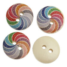 30 WOODEN SWIRL PAINTED 2 HOLE BUTTONS 15mm  Sewing~Knitting~Cards~Crafts  (43H)