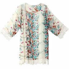 Women Summer Blouse Printed Chiffon Shawl Kimono Casual Cardigan Cover Up Tops