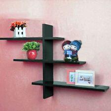 Noir 1 set t-forme flottante mur étagères étagère stockage dvd display new