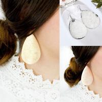 Women Jewelry Gold/Silver Large Brass Metallic Teardrop Drop Dangle Earrings