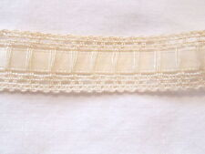 "2 Yards - Beautiful 5/8"" IVORY Ladder LACE with 1/4"" SATIN RIBBON Trim woven in"