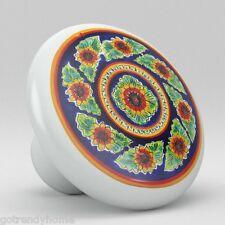 Round Talavera Design Ceramic Knobs Pulls Kitchen Drawer Cabinet Dresser 1184