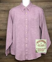 Brooks Brothers Men's 100% Irish Linen Purple Long Sleeve Button Down Shirt L