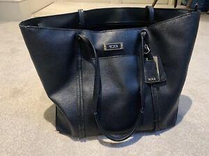 TUMI Black Leather Shoulder Bag 40 X 28 cms. USED