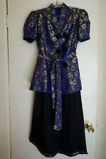 1930's Vintage Chinese Silk Brocade Hostess Pyjama Set, Purple