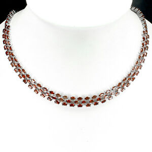 Necklace Red Garnet Sterling Silver Statement 3 Row Design 18 1/2 to 20 1/2 Inch