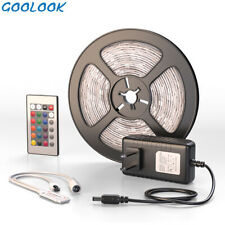 US Local Ship-5M LED Strip Light SMD 2835 RGB+Remote Controller+Power Supply NEW