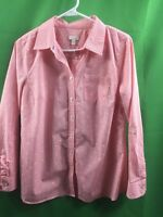 8657) TALBOTS sz medium petite button down shirt blouse cotton pink check PM