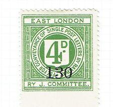 East London Railway J. Comm. 1922 4d green railway letter stamp - 200 printed