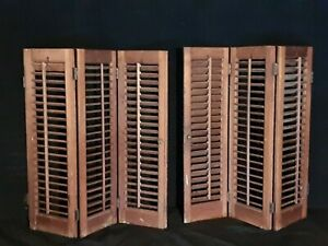 VTG Interior Louvered Wooden Window Shutters Bi-Fold Colonial X3 Set Of Two
