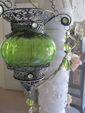 Beautiful Green Hanging Moroccan Glass Metal Lantern Tealight Candle Holder