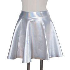 Women Shiny Holographic Hologram Silver Metallic Skater Skirt Mini Dress Laser