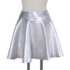 Women Shiny Holographic Hologram Silver Metallic Skater Skirt Mini Dress Laser